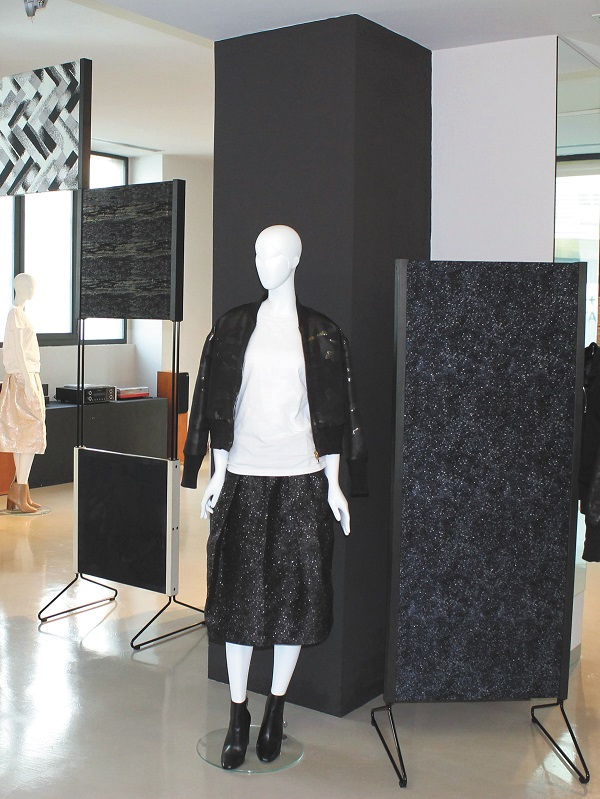 HOSOO & Co., LTD.'s collection, which promotes the Nishijin Ori technique, on display in Milan, Italy