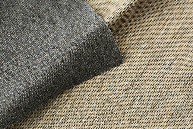Yagi Co Ltd: Ramie fabric woven with advanced Japanese technology, for use in jackets and pants. The material is characterised by the linen's lustre, crispness, and natural texture (ramie 56%, cotton 44%)