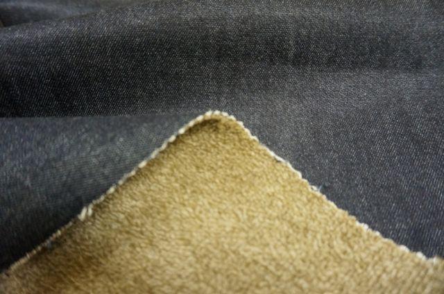 妙中パイル織物 裏パイル・表デニムのデニムファー