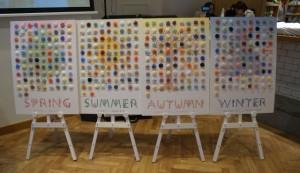 366日のそれぞれの記念日とそれをイメージした色、季節ごとのボードで表現した