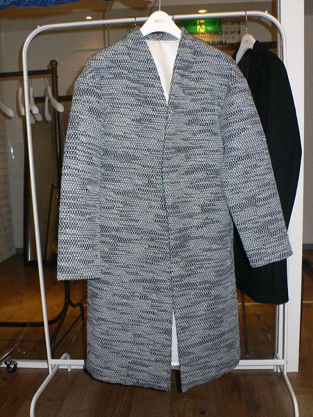 裂き織りデニムのコート