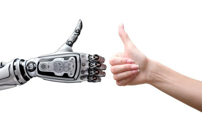 ロボットと人のサムズアップ