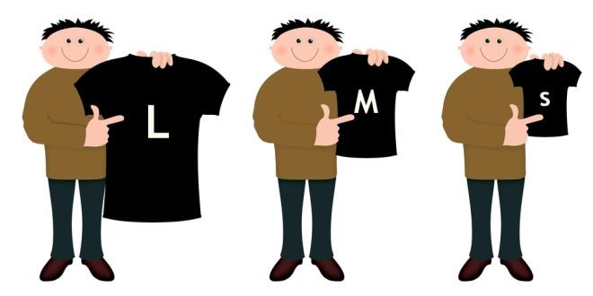 サイズ違いの服を持つ男性イラスト