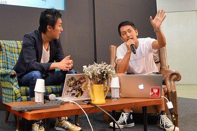 石川涼せーの社長(右)と猪子寿之チームラボ社長(左)
