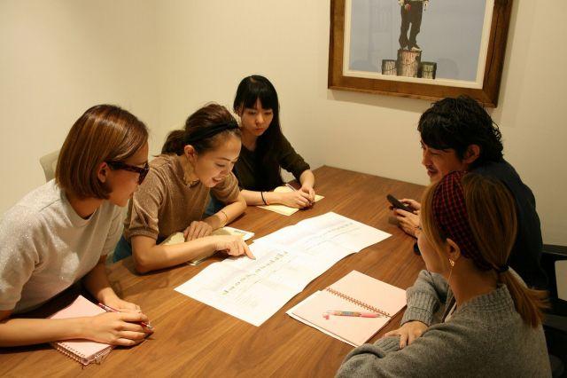 「女性の気持ちマップ」を作り、気候の変化で変わる女性の気分をMDに反映している。(須藤MD本部長(右奥)と「リリーブラウン」チーム)